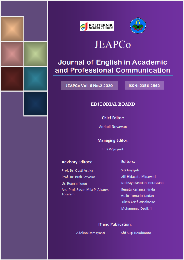 View Vol. 6 No. 2 (2020): Journal of English in Academic and Professional Communication